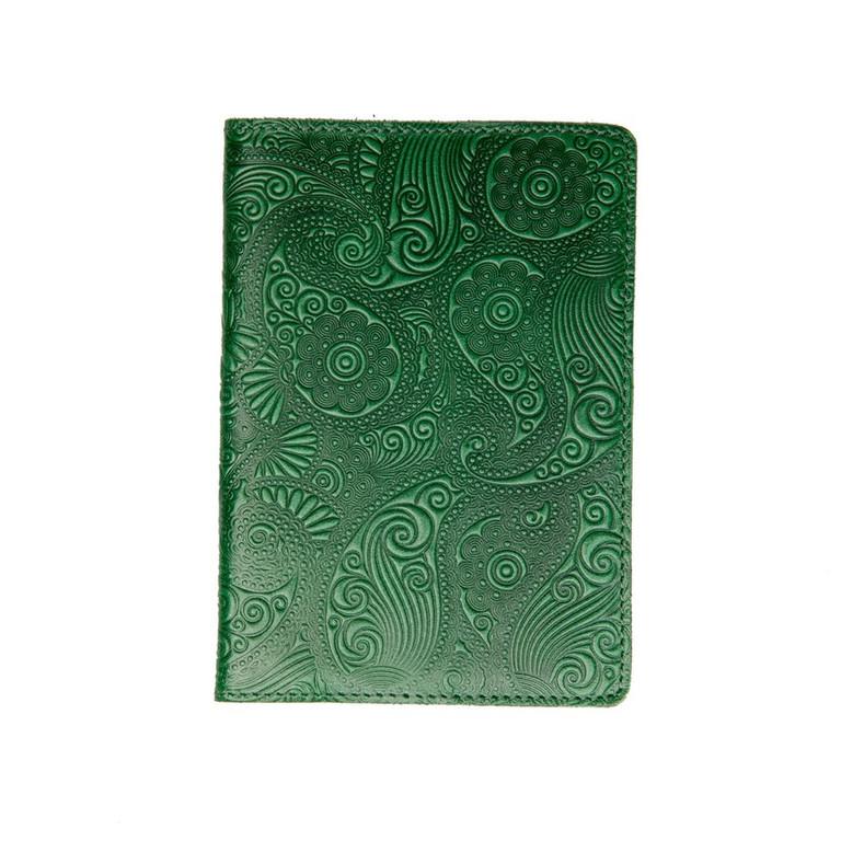 """Кожаная обложка на паспорт - """"Восточный огурец"""" (зеленый) - 220 грн. лицевая и обратная сторона"""