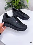 Стильные кроссовки женские черные эко-кожа весна- осень, фото 2