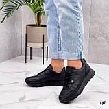 Стильные кроссовки женские черные эко-кожа весна- осень, фото 3