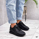 Стильные кроссовки женские черные эко-кожа весна- осень, фото 4