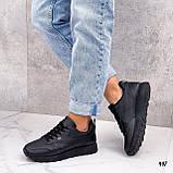 Стильные кроссовки женские черные эко-кожа весна- осень, фото 5