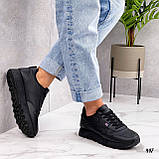 Стильные кроссовки женские черные эко-кожа весна- осень, фото 6