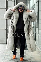 Шуба мужская из песца аукцион Saga furs с капюшоном
