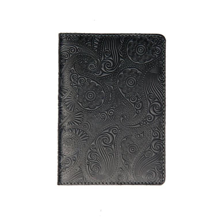 """Кожаная обложка на паспорт - """"Восточный огурец"""" (темно-серый) - 220 грн. лицевая и обратная сторона"""