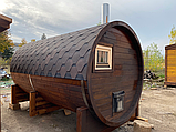 Деревянная баня бочка круглая 4,0х2,15 м из термобруса, фото 8