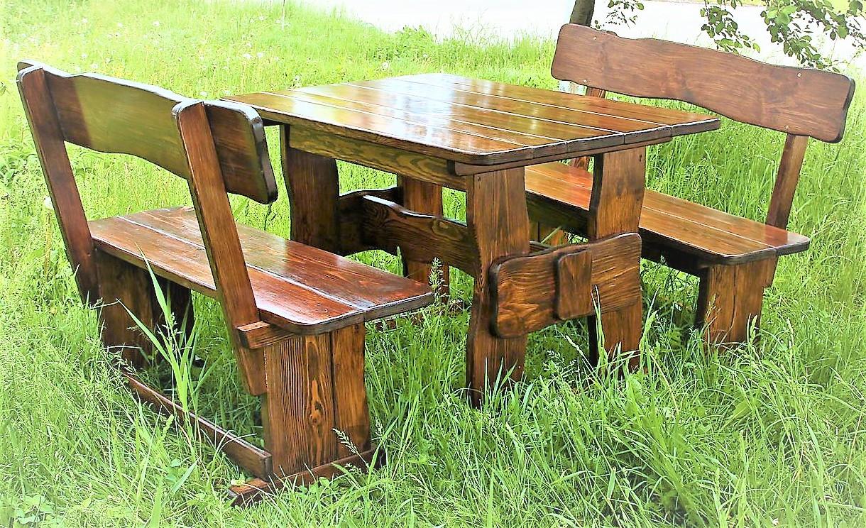Комплект дерев'яних меблів 1400*800 для кафе, дачі від виробника