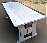 Комплект дерев'яних меблів 1400*800 для кафе, дачі від виробника, фото 3