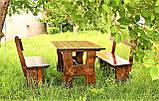 Комплект дерев'яних меблів 1400*800 для кафе, дачі від виробника, фото 4