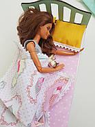 Комплект постельного белья для мебели NestWood (СПАЛЬНЯ) в кукольный домик для Барби, 4 ед., фото 2
