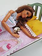 Комплект постельного белья для мебели NestWood (СПАЛЬНЯ) в кукольный домик для Барби, 4 ед., фото 4