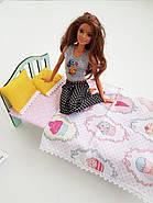 Комплект постельного белья для мебели NestWood (СПАЛЬНЯ) в кукольный домик для Барби, 4 ед., фото 6