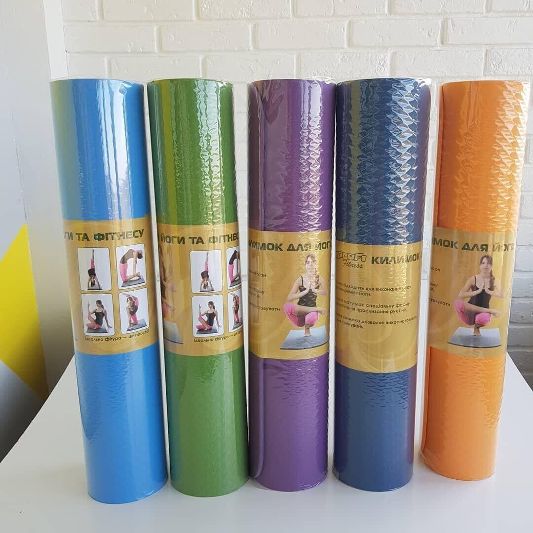 Коврик йогамат для йоги и фитнеса MS 0615 голубой