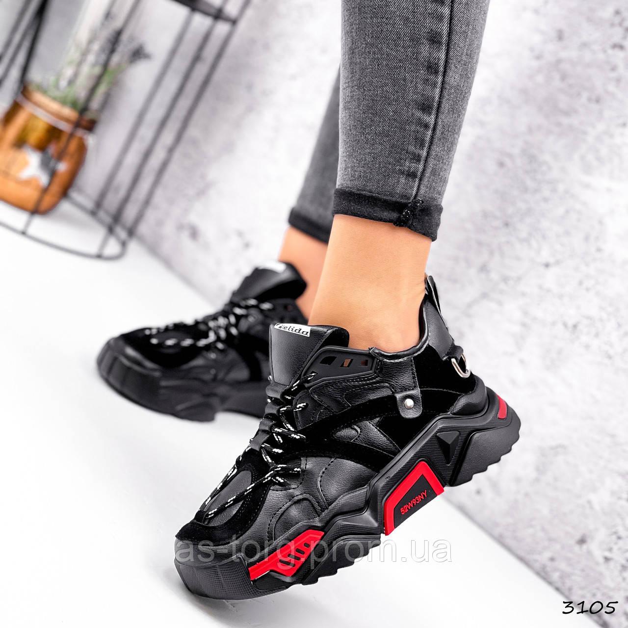 Кроссовки женские Ella черные + красный 3105