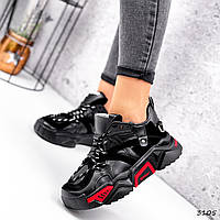 Кроссовки женские Ella черные + красный 3105, фото 1
