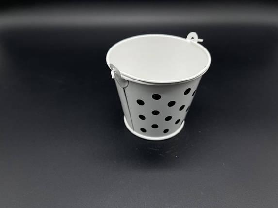 Декоративное ведро. Цвет белый. 7х8см, фото 2