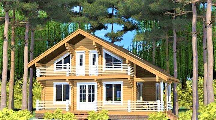 Дерев'яний будинок з профільованого клеєного бруса 14х12 м