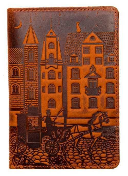"""Кожаная обложка на паспорт - """"Город"""" (рыжий) - 220 грн. лицевая сторона"""