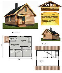 Проект каркасно-щитового будинку 64,5 м2. Проект будинку безкоштовно при замовленні будівництва