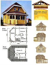 Проект будинку з оциліндрованої колоди 89,3 м2. Проект будинку безкоштовно при замовленні будівництва