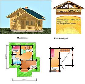 Проект дома из оцилиндрованного бревна 34,2 м2. Проект дома бесплатно при заказе строительства