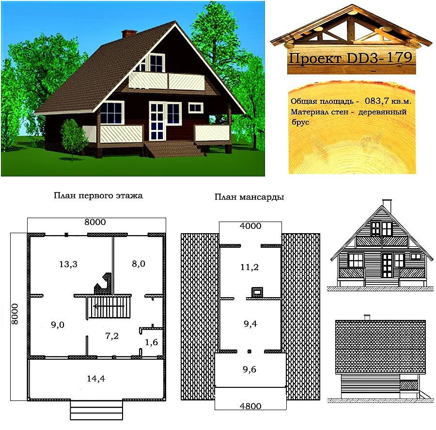Проект дерев'яного будинку з профільованого бруса 83,7 м2. Проект будинку безкоштовно при замовленні будівництва