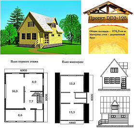 Проект дома из профилированного бруса 76,9 м2. Проект дома бесплатно при заказе строительства