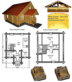 Проект будинку з оциліндрованої колоди 60 м2. Проект будинку безкоштовно при замовленні будівництва