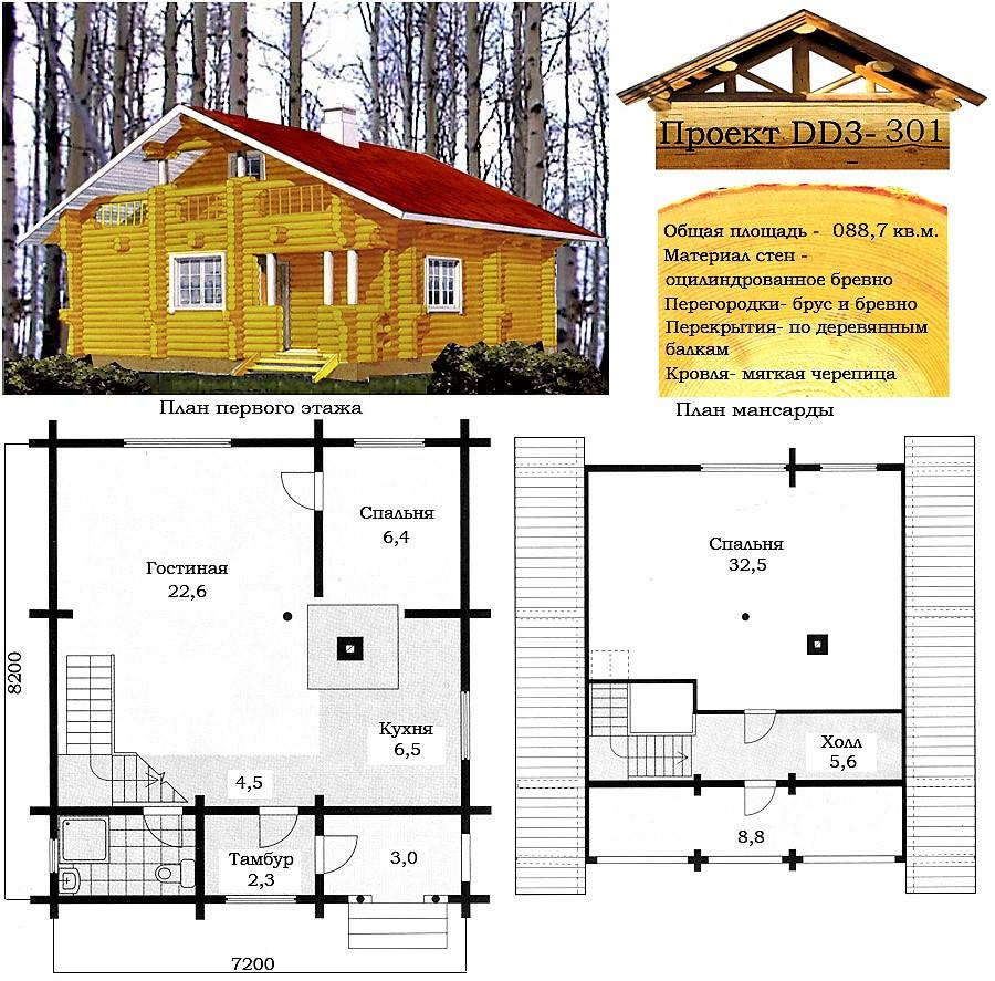 Проект будинку з оциліндрованої колоди 88,7 м2. Проект будинку безкоштовно при замовленні будівництва