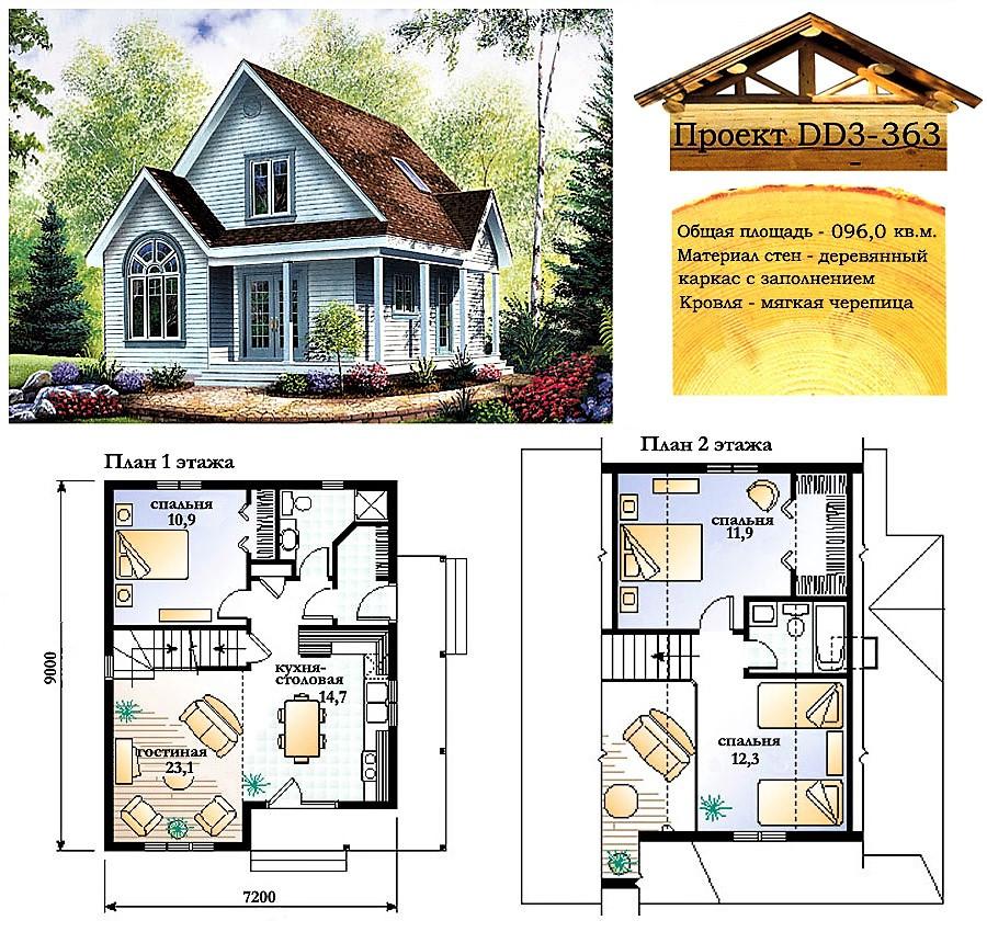 Проект каркасно-щитового дома с заполнением 96 м2. Проект дома бесплатно при заказе строительства