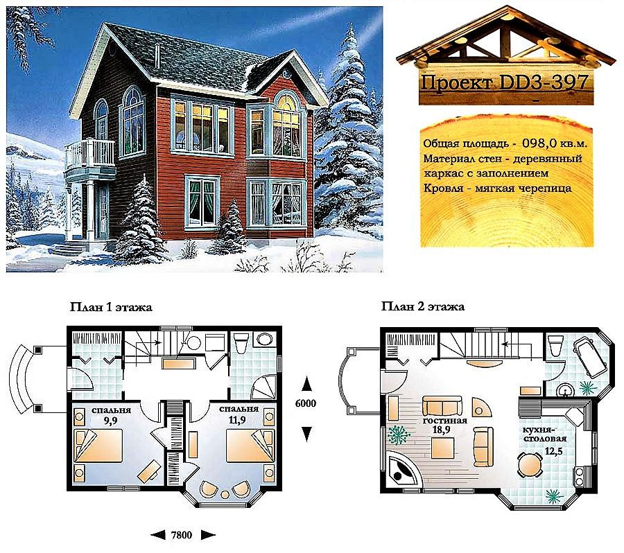 Проект каркасно-щитового дома с заполнением 98 м2. Проект дома бесплатно при заказе строительства