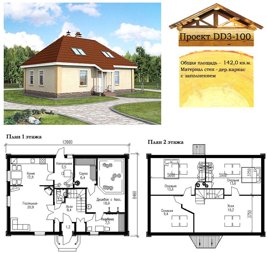 Проект каркасно-щитового дома 142 м2. Проект дома бесплатно при заказе строительства
