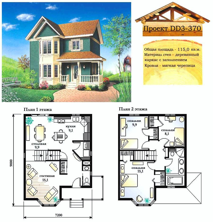 Проект каркасно-щитового дома с заполнением 115 м2. Проект дома бесплатно при заказе строительства