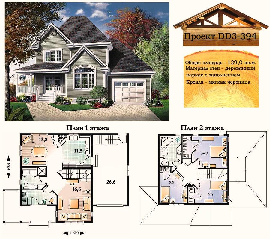Проект каркасно-щитового дома с заполнением 129 м2. Проект дома бесплатно при заказе строительства
