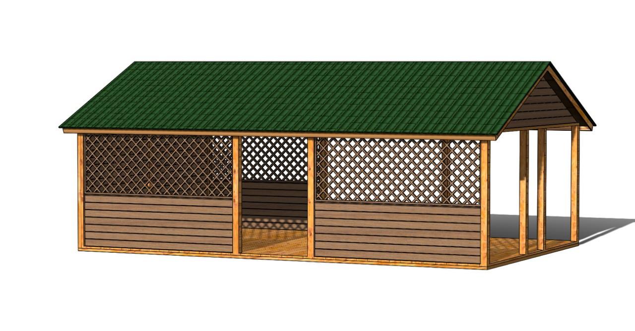 Деревянный павильон шатер для торговли, детских площадок, дачи 5,0х8,0 м