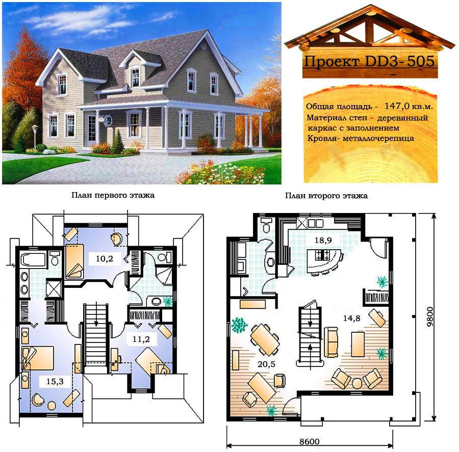 Проект каркасно-щитового дома с заполнением 147 м2. Проект дома бесплатно при заказе строительства