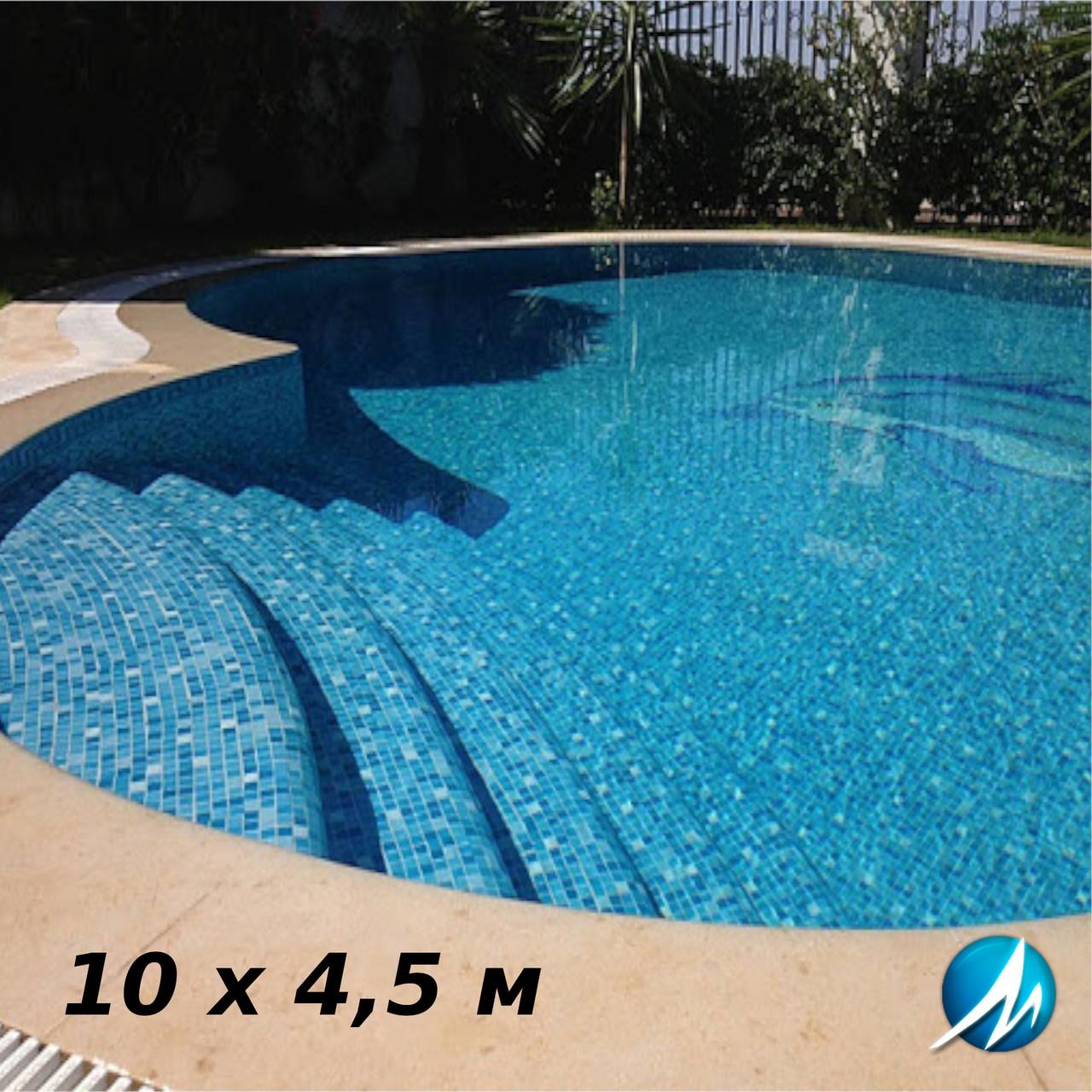 Отделка мозаикой бетонной чаши бассейна 10 х 4,5 м