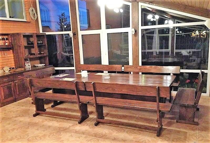 Комплект меблів з натурального дерева для ресторану 2700*1200 від виробника