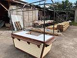 Торгівельна ятка 1,5х2,5 м. металевий Каркас, обшивка дерев'яна яна, пересувні на коліщатах, фото 4