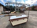 Торгівельна ятка 1,5х2,5 м. металевий Каркас, обшивка дерев'яна яна, пересувні на коліщатах, фото 5