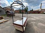 Торгівельна ятка 1,5х2,5 м. металевий Каркас, обшивка дерев'яна яна, пересувні на коліщатах, фото 6