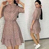 Легкое летнее повседневное платье в горошек с рукавом три четверти 2021