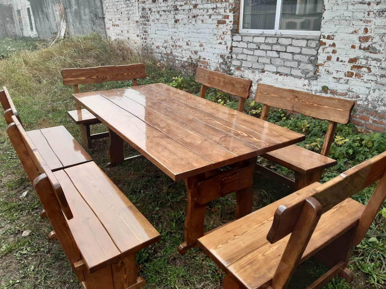 Деревянный стол из массива древесины 2000*1000 + 6 лавок от производителя