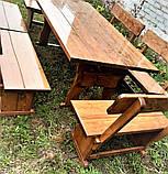 Деревянный стол из массива древесины 2000*1000 + 6 лавок от производителя, фото 2