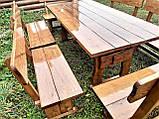 Деревянный стол из массива древесины 2000*1000 + 6 лавок от производителя, фото 3
