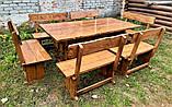Деревянный стол из массива древесины 2000*1000 + 6 лавок от производителя, фото 5