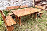 Деревянный стол из массива древесины 2000*1000 + 6 лавок от производителя, фото 6