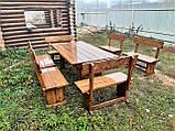 Деревянный стол из массива древесины 2000*1000 + 6 лавок от производителя, фото 7