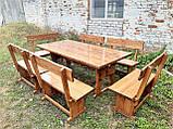 Деревянный стол из массива древесины 2000*1000 + 6 лавок от производителя, фото 10