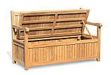 Лавочка - сундук со спинкой 1500 х 550 мм со встроенным ящиком для хранения Garden park bench 19, фото 2