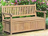 Лавочка - сундук со спинкой 1500 х 550 мм со встроенным ящиком для хранения Garden park bench 19, фото 3